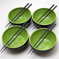 Chopsick Bowls in Apple Green by NstarStudio on Etsy