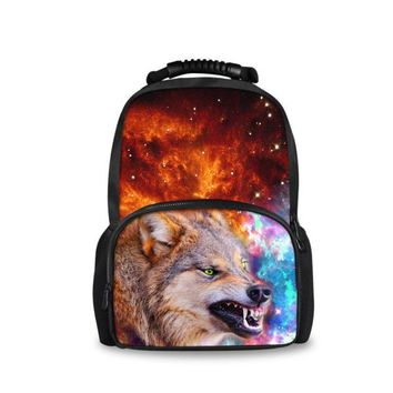 Cool Backpack school FORUDESIGNS Cool Teen Boys Backpack Printing 3D Animal Wolf Bagpack for College Student Personalized Kids Laptop Bag 17inch AT_52_3