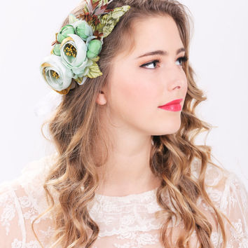 seafoam floral crown, bridal flower hair crown, woodland wedding, sea foam flower, milinery flower