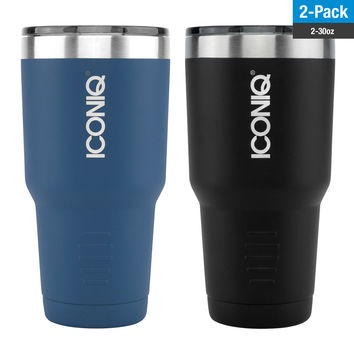ICONIQ 30oz Tumbler 2-Pack - Blue and Black- Stainless Steel Vacuum Insulated - Retractable Lid