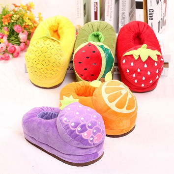 Winter Warm Soft Comfortable Fruit Home Slippers