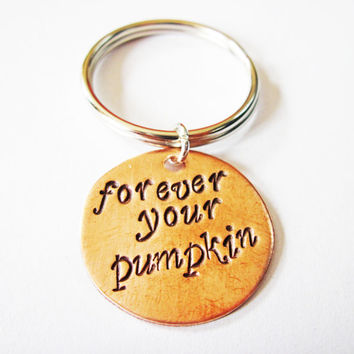 Personalized quote keychain, Forever your pumpkin, engraved Keychain, Metal Keychain HandStamped, fathers day gift idea, brass copper silver