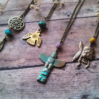Tribal Charm Necklace // Native American Style Jewelry  // Choose your Charm // Indie Jewelry //  Tribal Jewelry