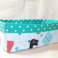 Bright Sewing Themed Fabric Basket