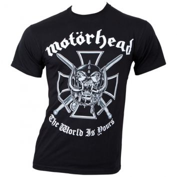 Motörhead - T-Shirt Iron Cross (The World Is Yours) - black