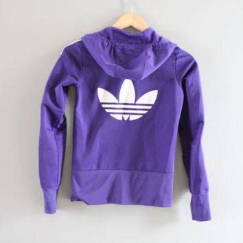 DCK7YE Adidas Hoodie Trefoil Big Logo Purple Hooded Sweatshirt Zip Up Hoodie Adidas Jacket Vi