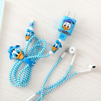 Cartoon USB Cable protector Set Bobbin winder Data Line Case Rope Protection Spring twine For Iphone5 6 6plus earphone Cover