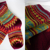 nordic inspired fairisle patterned chunky knit socks