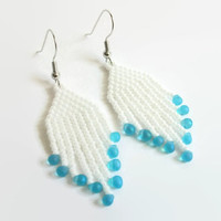 White Beaded Earrings, Dangle, With Blue Bead Accent, Casual Or Dressy, Gifts For Her, Springtime, Summer Earrings