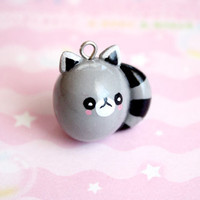 Raccoon necklace  cute handmade polymer clay made to by kukishop