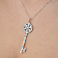 Skeleton Key Pendant - Sterling Silver Key Necklace - Cubic Zirconia Pendant - Sterling Silver Pendant