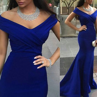 Off Shoulder Mermaid Royal Blue Prom Dresses