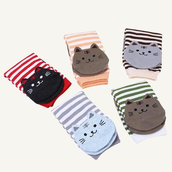 3 Pairs/lot Women's Socks 3D Animals Striped Cartoon Cat Footprints Cotton Ankle Sock Lovely Art Excellent Quality Student Socks