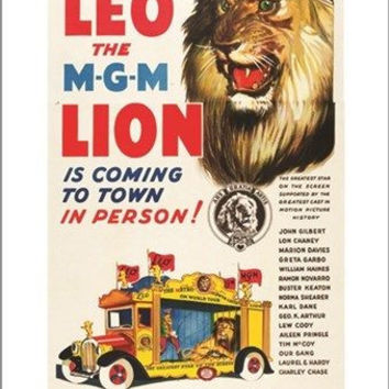 LEO THE MGM LION classic circus poster 1928 ANIMALS rare COLLECTORS 24X36