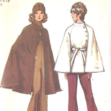 1970s Misses Cape Vintage Sewing Pattern Lined by MissBettysAttic