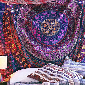 Multicolor Mandala boho tapestry wall hanging, Indian wall tapestry, bohemian psychedelic tapestry, wall decor cotton throw bed cover