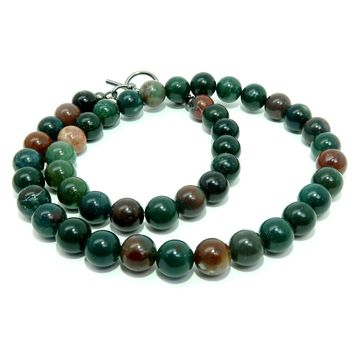 Bloodstone Necklace 01 - Beaded Green Red Round 7mm