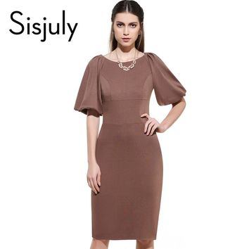 Sisjuly  Summer Sheath Dress Bodycon Women  Lantern Sleeve Knee-Length Dresses Sheath Dress
