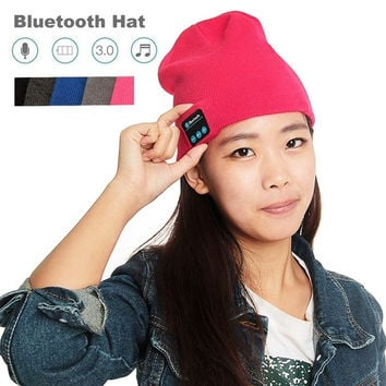 Rose1 Bluetooth Wireless Headset Hat Unisex Warm Cotton Smart Cap