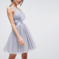 ASOS PREMIUM Lace Top Tulle Mini Prom Dress with Ribbon Ties at asos.com
