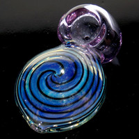 Unique Fumed Round Chamber Spoon Pipe - Heavy Compact Disc Shape Smoking Bowl w/ Trippy Pinwheel Swirls & Pink Clear Glass