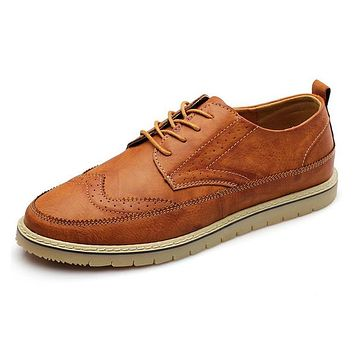 Men Leather Shoes Casual Brogue Men's Flats Genuine Leather Shoes For Men Luxury Man Footwear