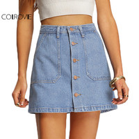 COLROVIE Faded Wash Denim Mini Skirt Women Blue Slant Pocket Button Down Casual A Line Skirts 2017 Vintage Ladies Summer Skirt
