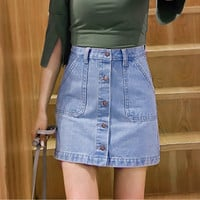 Skirts     Brand Ladies A-line Solid Denim Skirt Single Button Sexy Skirt Leisure Slim All-match Jeans Skirt