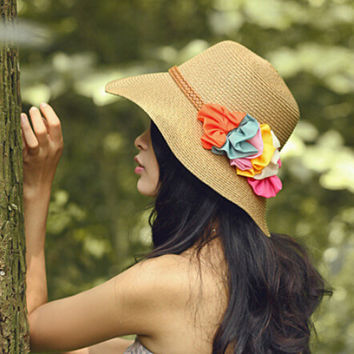 Korean Summer Womens Hat Floral with Womens Beach Cap Casual Solid Straw hats for woman