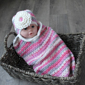 Baby Cocoon, Flower Hat Crochet Cocoon, Baby Swaddle Sack, Cocoon, Large White Flower with Pink Multi, Baby Photo Prop