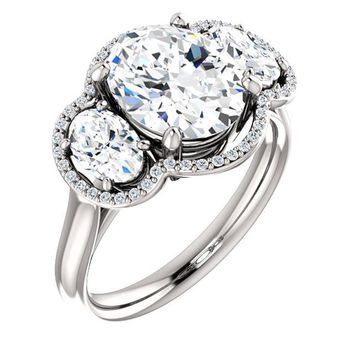2.0 Ct Oval 3 Stone Ring 14k White Gold