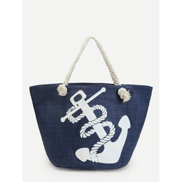 Anchor Print Canvas Tote Bag - Purse - Large Bag - Beach Bag