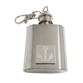 Silver Toned Etched Fat Nautical Anchor 1 Oz. Stainless Steel Key Chain Flask
