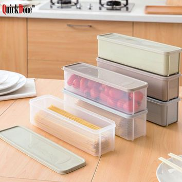 QuickDone Plastic Noodle Refrigerator Food Storage Box Rectangular With Lid Cover Candy Crisper Drawer Fresh-Keeping AKC6070