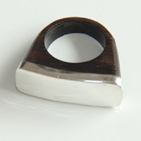Sterling Silver Rectangle & Wooden Band Ring