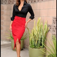 Vogue Skirt in Red | Pinup Girl Clothing