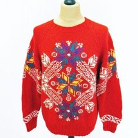 Vintage 1980s RALPH LAUREN Christmas Snowflake Pattern Jumper Medium