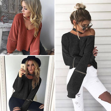‰ªÁ Cozy Knitted Warm Sweater Casual Loose Open Sleeve Zipper Jumper ‰ªÁ
