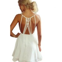 Women Summer Cute White Backless Mini Hollow Girl Chiffon Beach Sexy Dress