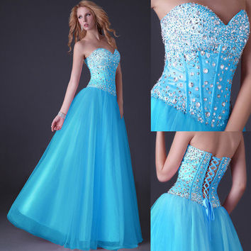 LONG PROM DRESS FORMAL EVENING SEXY SWEET 16 PARTY PAGEANT GOWN HIGH LOW DRESSES