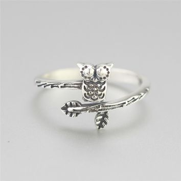 Flyleaf 925 Sterling Silver Tree Branches Owl Opens Rings For Women Vintage High Quality Girl Gift Sterling-silver-jewelry