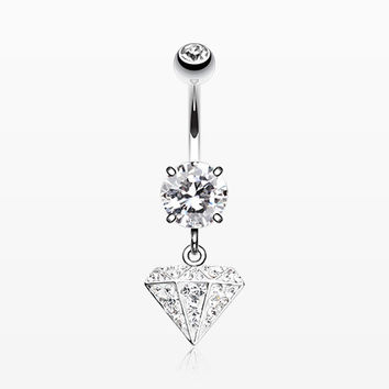 Urban Diamond Multi-Gem Sparkle Dangle Belly Button Ring