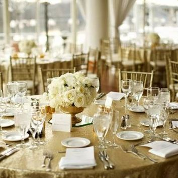 Champagne Sequin Linens