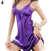 New Women's Sexy Lace Lingerie Babydoll Dress Nightwear Underwear Sleepwear+G-string