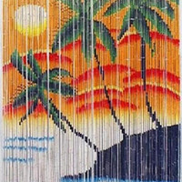 Bamboo door curtain with sunrise palm trees scene