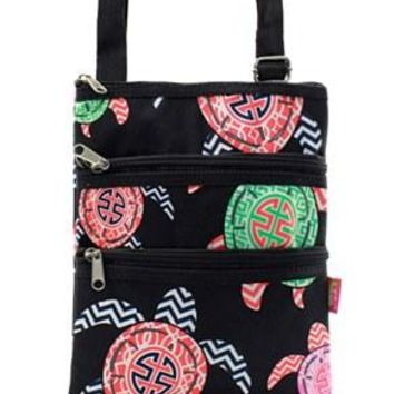 Turtle Print Messenger Bag - 2 Color Choices