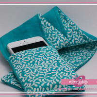 dSLR Camera Strap Cover - Teal: White Scrolls and Watery