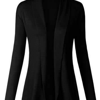 Folded Over Opening Long Sleeve Open Front Cardigan Sweater