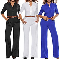 Summer Fashion Long Jumpsuits For Women Solid with Belted Rompers Womens Jumpsuit 2016 Autumn Overalls Playsuits S-XL