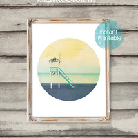 Modern Art Circle Photography Printable Beach Lifeguard Tower Watercolor Art Ocean Printable Coastal Wall Art Summer Beach Print Circle Art